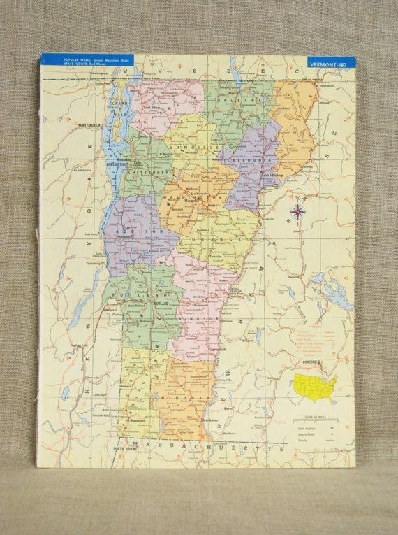 Vintage Vermont State Map Virginia United States Atlas - East coast state map