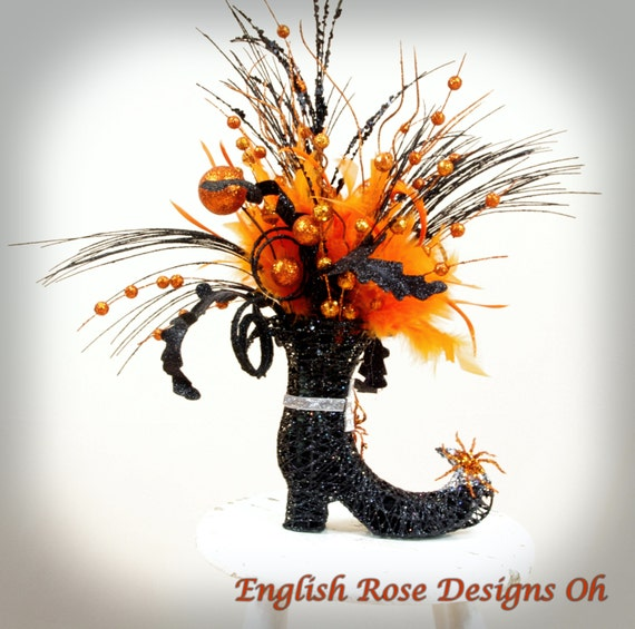Glittered Orange And Black Witch Boot Witch Decor