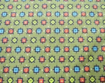 Vintage Tiny Print Retro Geometric Square Fabric 2.2 yards