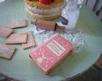 Miniature  Vintage Cookbook  for Dollhouse 1/12 Scale