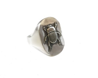 Egyptian SCARAB Beetle Dung beetle Ring Solid Sterling Silver 925 By Ezi Zino