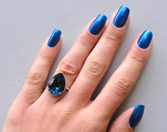 Sapphire Crystal Ring, Sapphire Pear Shaped Crystal Ring, Teardrop Crystal Ring, Blue Crystal Ring, Sapphire Crystal Statement Ring, Blue