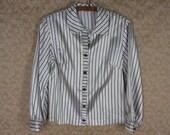 Retro Graff Striped Blouse Black White Stripe Satin Long Sleeve