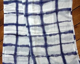 Large cotton and linen gauze shibori scarf