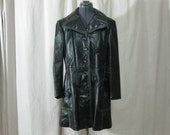 VIntage 60s 70s MOD Hippie Black Genuine Leather White Stitching Jacket Large