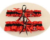 Case IH Colors-Satin Red and Black Wedding Garter Set with Tractor Charms
