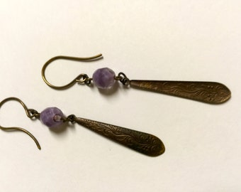 Long Bronze Drop Earrings with Vintage Violet Czech Glass Crystals