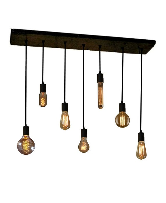 Wood Chandelier With Pendant Lights Rustic Ceiling Fixture