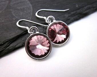 Antique Pink Swarovski Crystal Earrings -- Silver & Pink Earrings -- Antique Pink Earrings -- Dusty Pink Earrings -- Crystal Drop Earrings