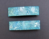Polymer Clay Barrettes - Pair of 2 Inch -  Deep Turquoise Blue  With Metallic Silver Highlights