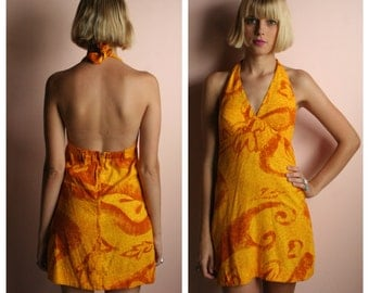 Mini Halter Dress / Vintage Hawaiian Dress / 1960's Hawaii Dress / Mustard and Burnt Orange Printed Mini Dress