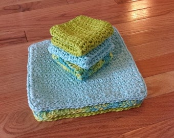Set of 3 Cotton Trivets & 3 Dish Cloths in Ice Blue and Lime Green