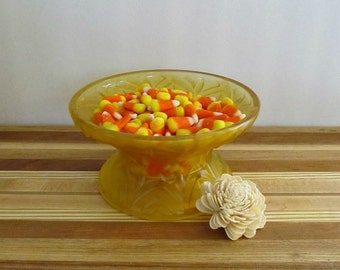 Upcycled Vintage Bowl - Repurposed, Painted Cut Glass Candy Dish - Sunflower Yellow - Coffee Table, Catch All Dish, Home Decor
