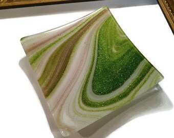 Christmas Candle Holder, Votive Holder, Tea Light Holder, Fused Glass, Grey, Gray, Green
