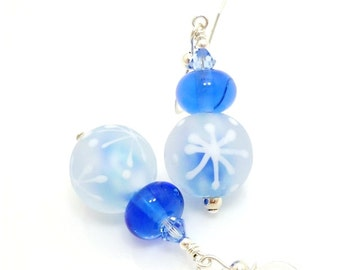 Snowflake Earrings, Blue & White Earrings, Lampwork Earrings, Glass Earrings, Beadwork Earrings, Holiday Earrings, Christmas Earrings