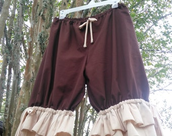Brown Knee Length Womens Bloomers with double ruflles