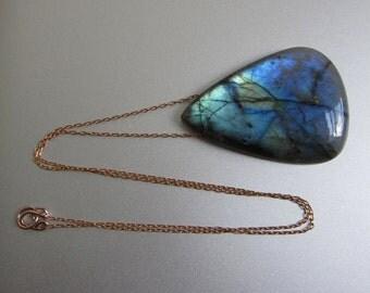 Labradorite Large Drop Solid 14k Rose Gold Necklace
