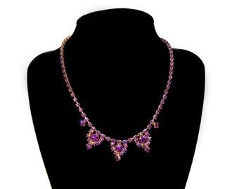 Vintage 1950's Purple Amethyst Rhinestone Necklace