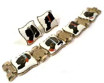 Vintage 1950s  Nubian Enameled Link Bracelet & Earrings African Theme