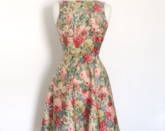 UK size 8 Sanderson Floral Tea Dress with A-Line Skirt and Rose Satin Piping - Ready To Ship -  Made by Dig For Victory