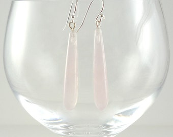 Rose Quartz Earrings Gemstone Earrings Pale Pink Rose Quartz Earrings Rose Quartz Drop Earrings Rose Quartz and Silver Gemstone Earrings