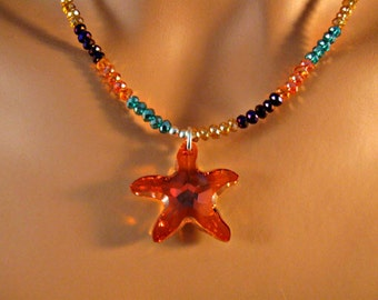 Swarovski Crystal Starfish necklace,silver and fire polished crystal necklace,crystal necklace, silver necklace, starfish necklace,Swarovski