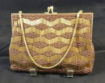 Bronze Beaded Evening Bag Signed Walborg Made in Hong Kong