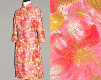 1960s Cheongsam Dress, Cotton Satin Print 60s Hourglass Dress with Metallic Gold Plumes