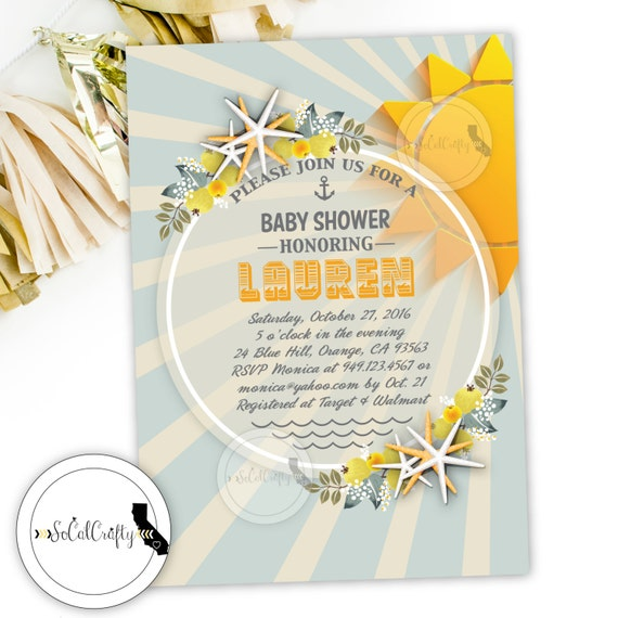 baby shower invitation beach invitation starfish invitation