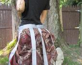 gray and rust blockprint Sari bustle,one size,  steampunk, victorian, bellydance