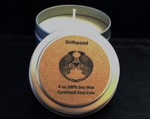 Driftwood Soy Wax Candle, 4 oz Tin, Travel Size - Extra Strength