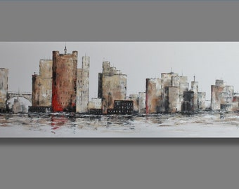 Large Original Oil Painting- City on The Lake- Modern, Contemporary, Urban, Extra Large 72x24