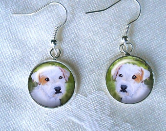 Jack Russell Drop Earrings ~ Dog Earrings ~ Parson Russell ~ Cute Earrings ~ July Birthday ~ Pet Keepsake