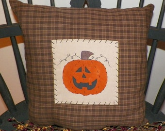 UNSTUFFED Fall Pillow Primitive Pumpkin Decoration Halloween Painted Handmade Country Home Decor Jack O Lantern Seasonal Brown wvluckygirl