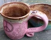 MADE TO ORDER Bohemian Hippe Henna Tattoo Peace Coffee Mug tea cup wheel thrown pottery Reiki energy Lightworker Blue Brown Pink Brown