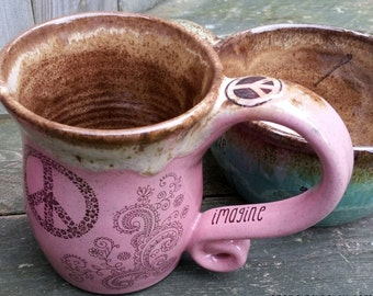 MADE TO ORDER Bohemian Hippe Henna Tattoo Peace Coffee Mug tea cup wheel thrown pottery Reiki energy Lightworker Blue Brown Pink Brown
