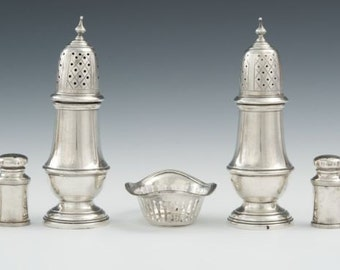 Antique  2 Sterling Silver S/P shakers,3 Nut Dishes 10 toz