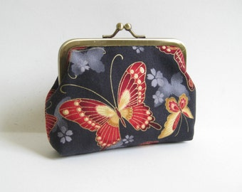 Medium Coin Purse with Red and Gold Butterflies