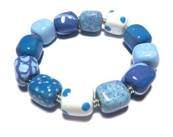 Beaded Bracelet, Kazuri Bangle, Fair Trade, Ceramic Jewellery, Blue and White Bracelet