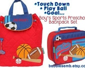"""Boys Monogrammed """"Sports"""" Stephen Joseph Quilted Backpack Toddler Boy Baby Diaper Bag"""