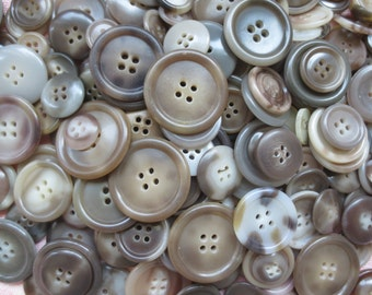 Vintage beautiful shades of taupe color assorted marble design round plastic buttons. Lot of 200.