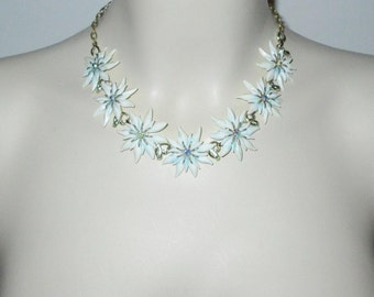 Vintage 1950s White Plastic Flower Choker Necklace With Rhinestones & Aqua Accents By Karu Arke