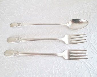 Beloved Pattern 3 Pieces Silver Plate - Forks, Spoons Vintage Wm. Rogers International Silver Silver Plate