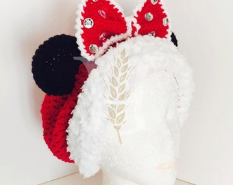 Mrs. Minnie Claus Crochet Christmas Red Santa Slouch Hat