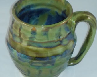 Ceramic Mug with Floating Glaze in Greens and Blues