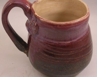 Ceramic Mug in Shades of Purple Wheel thrown and Carved