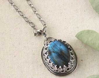 Chunky Boho Labradorite Necklace Pendant, Sterling Silver, Big Necklace