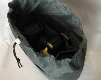 PreOrder Drawstring Camera Bag Insert  - 2 Lens Sleeves  - Custom Sizes & Color