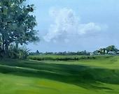 Original oil painting landscape Trees Field Shadow Netherlands Dutch painting Nancy van den Boom  30 x 30 cm - 11,5 x 11,5  inches