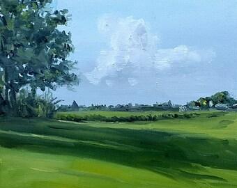 Original oil painting landscape Trees Field Shadow Evening light painting Nancy van den Boom  30 x 30 cm - 11,5 x 11,5  inches